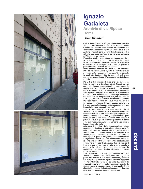 """Alberto Dambruoso, Ignazio Gadaleta. Archivio di Via Ripetta Roma. """"Ciao Ripetta"""", in """"Academy of fine arts"""", anno 2013, n. 17, p. 47"""