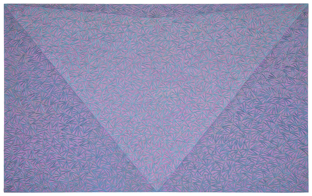 Ignazio Gadaleta, Empireo aereo, 1986, olio su tela, 130 x 210 x 4 cm | esposto alla XI Quadriennale di Roma | Milano, Intesa Sanpaolo Gallerie d'Italia Piazza Scala (Caveau)